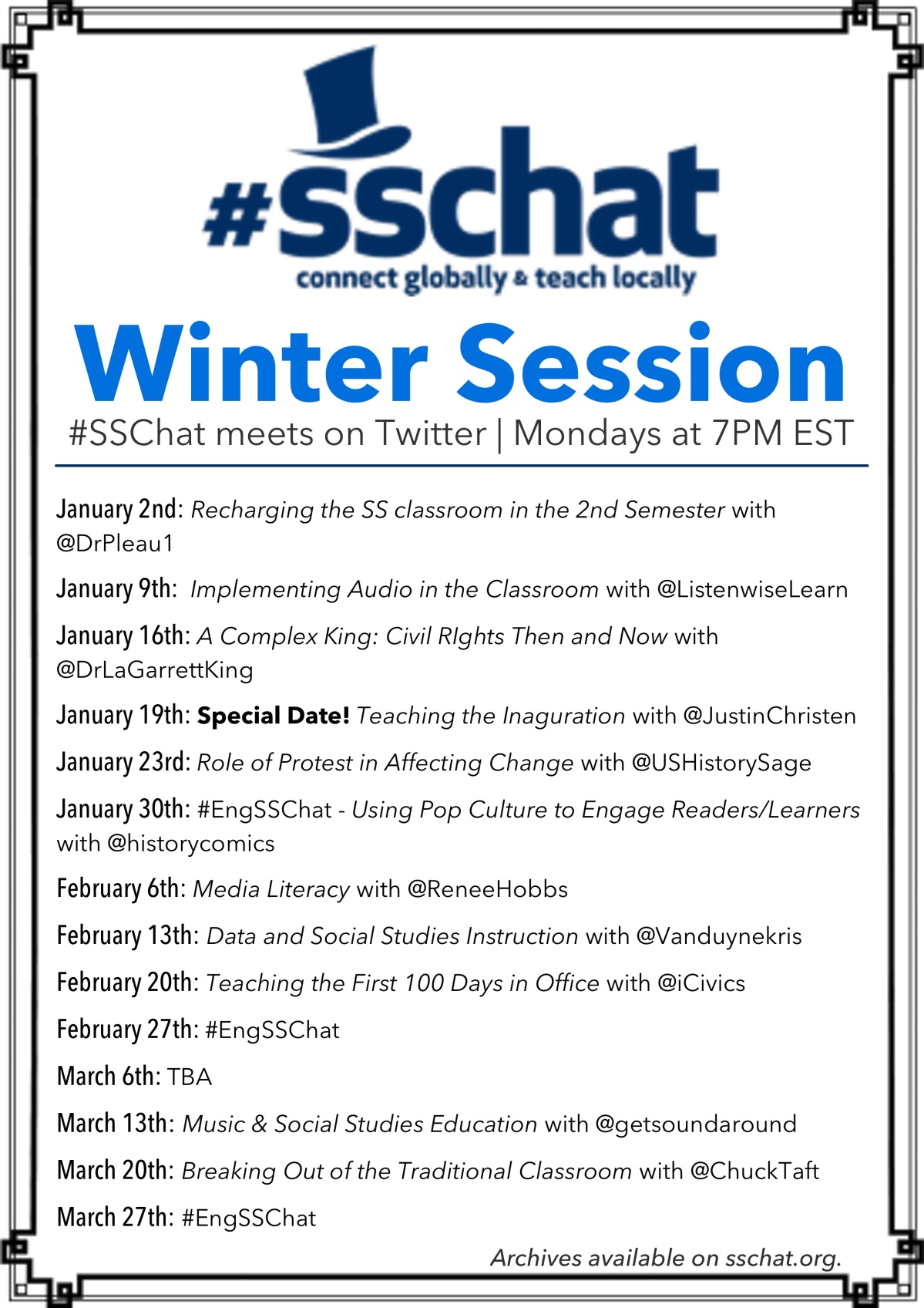 Announcing the #SSChat Winter Session!
