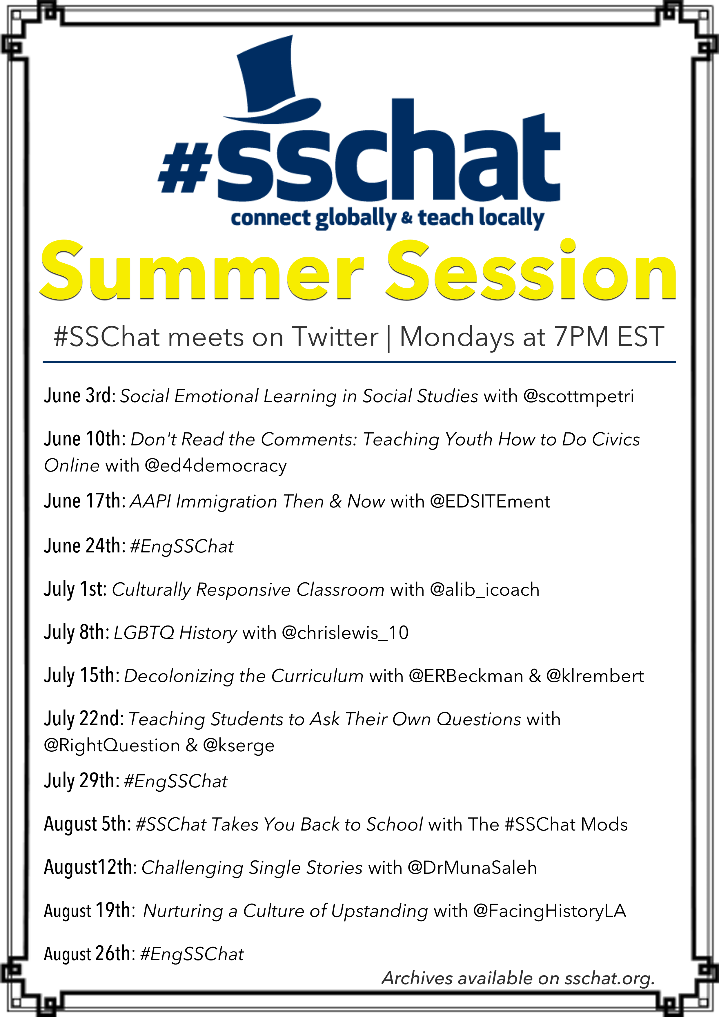 Announcing #SSChat Summer Session 2019!